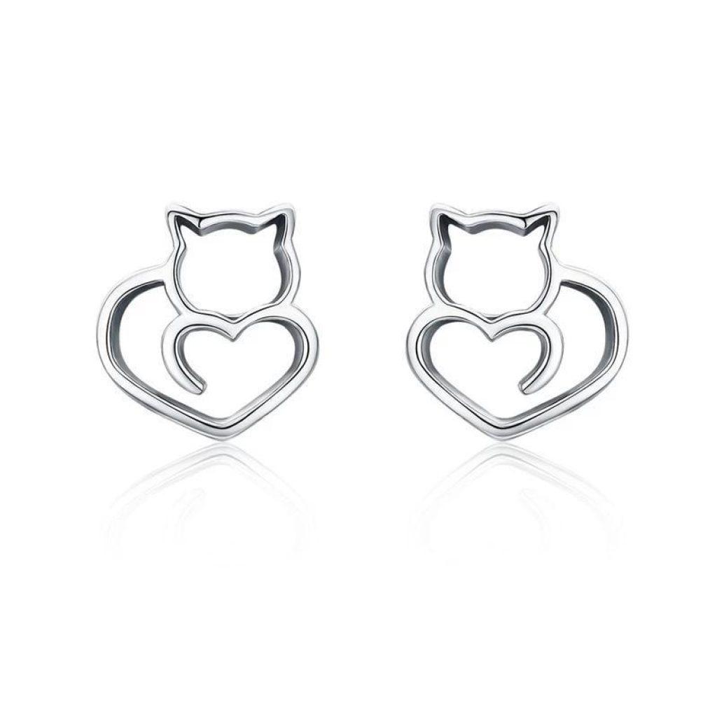 Boucles d'Oreilles chat (Argent) – Un chat au grand cœur !