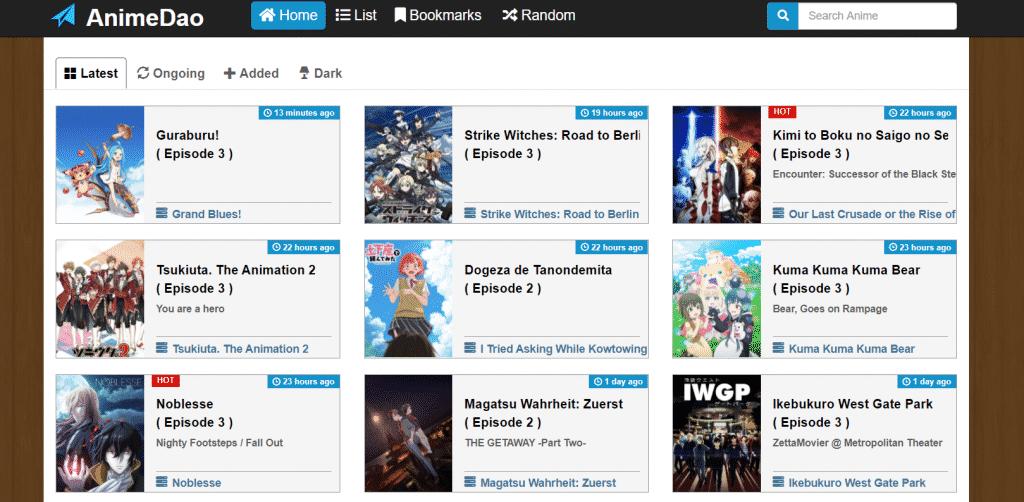 Page Web site de streaming AnimeDao