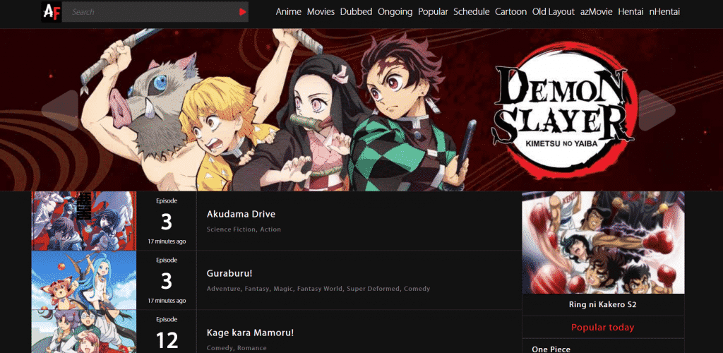 Page web site de streaming manga Animefranzy