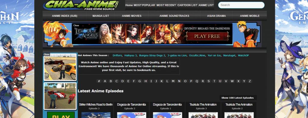 Page web site de streaming chia-anime manga