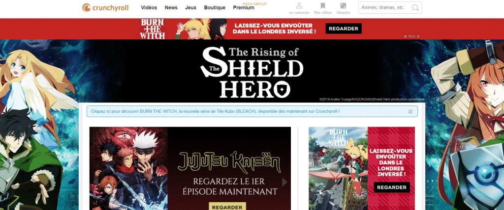Page web site de streaming Crunchyroll manga