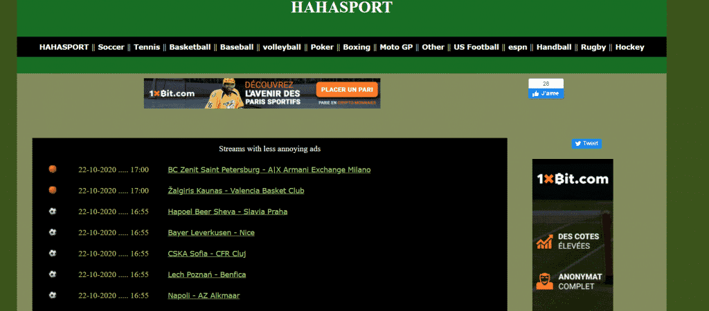 Page web site streaming sport Haha sport