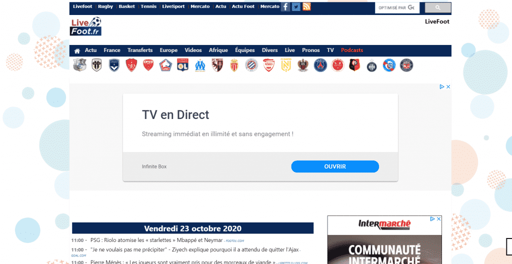 page web site de streaming live foot