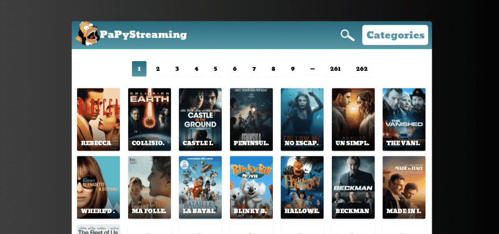 Page web Site de streaming Papystreaming