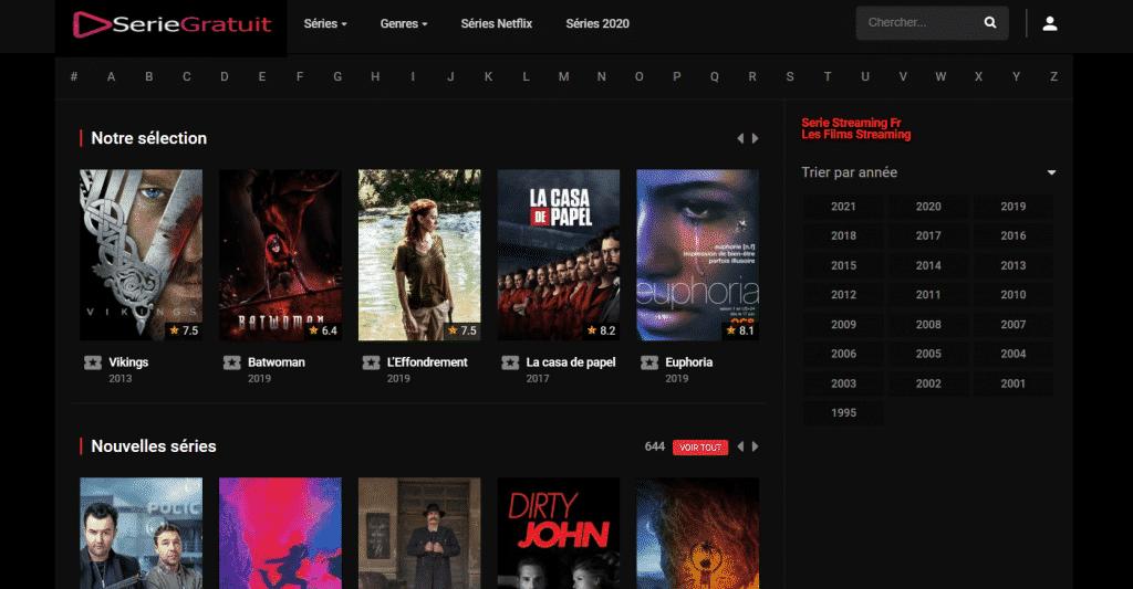 Page web site de streaming série gratuit