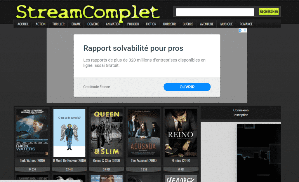 Page web site streaming Stream Complet