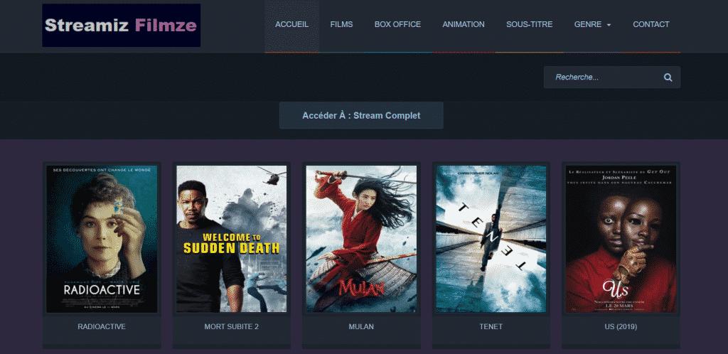 Page web site de streaming Streamiz