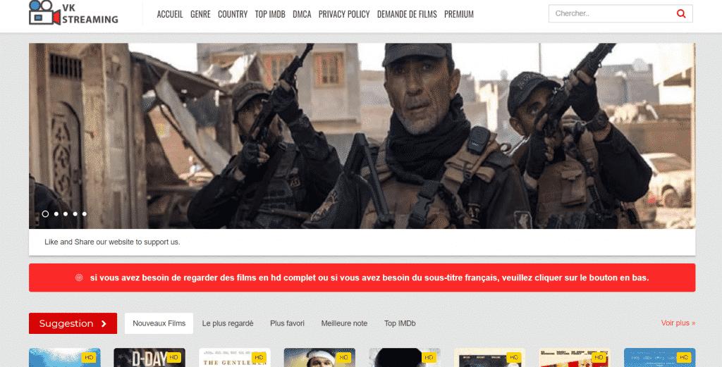 Page web site de streaming VKstream