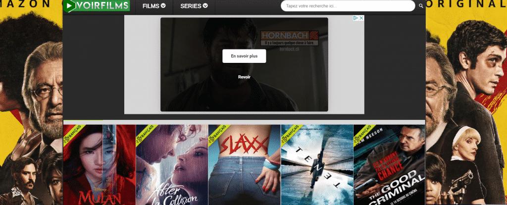 Page web site de streaming Voir Film