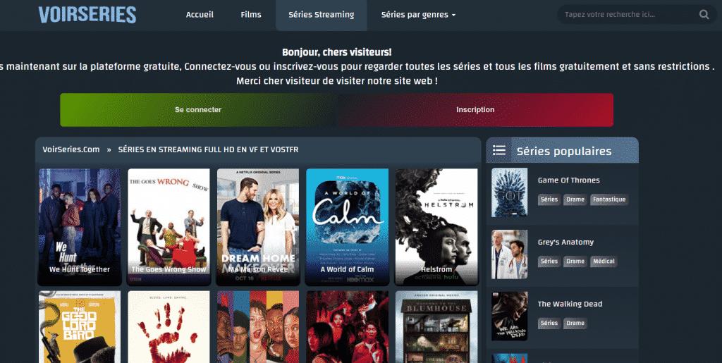 Page web site de streaming voir serie