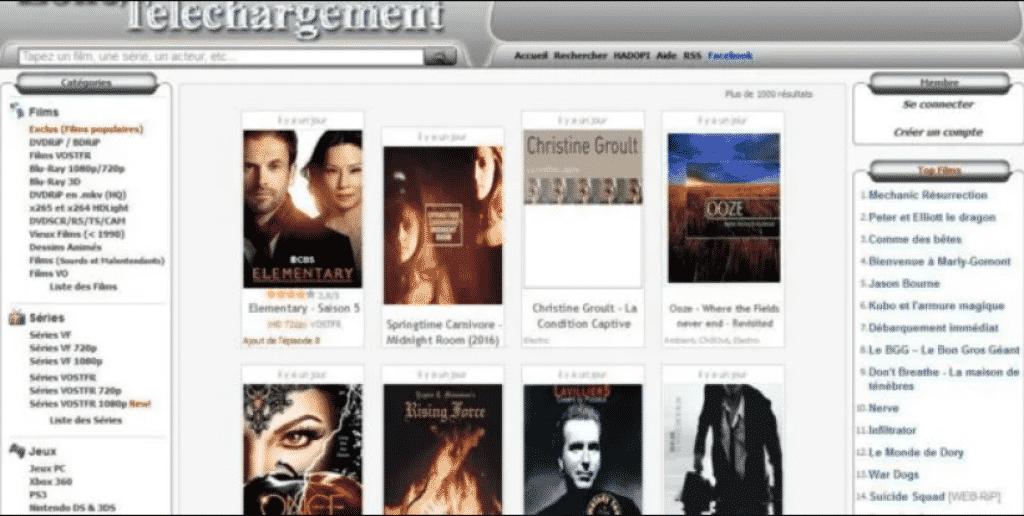 Page web site de streaming zone de téléchargement