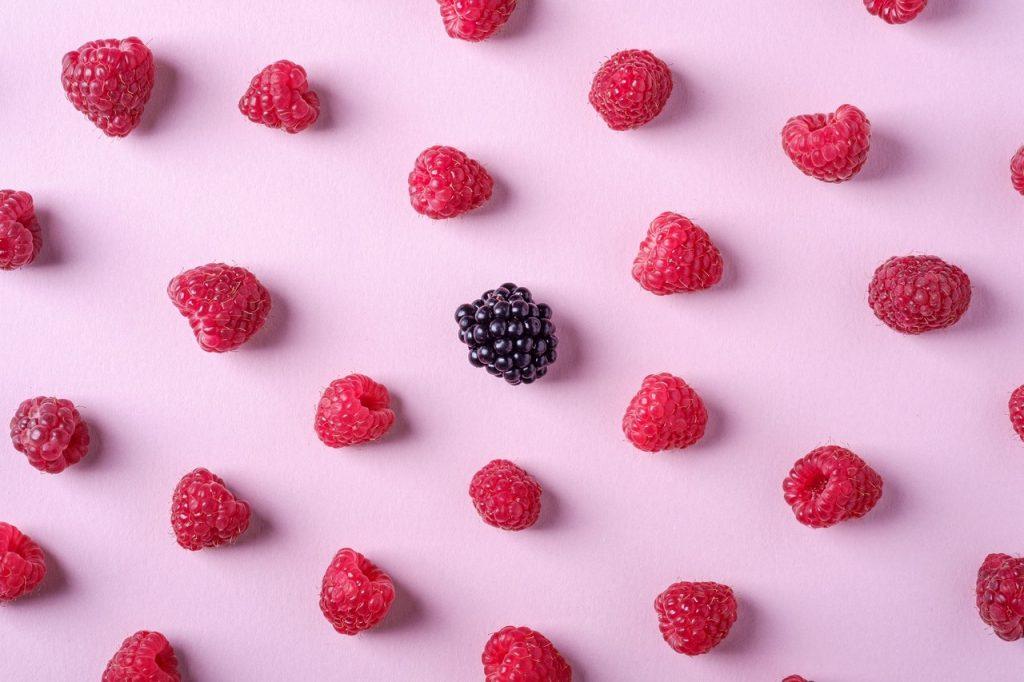 Baies de fruits rouges, mures et framboise